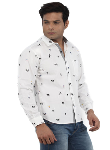 Moustache Slim Fit Mens Shirt-White