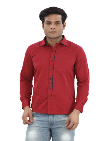 Moustache Slim Fit Mens Shirt-Red