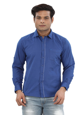 Moustache Slim Fit Mens Shirt-Royal Blue
