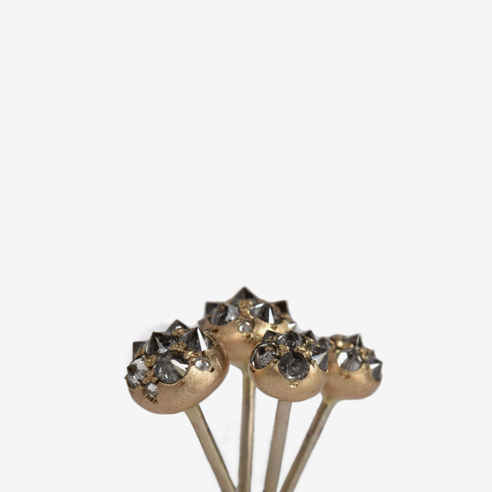 inverted black and silver natural diamond and 14k recycled gold urchin earrings
