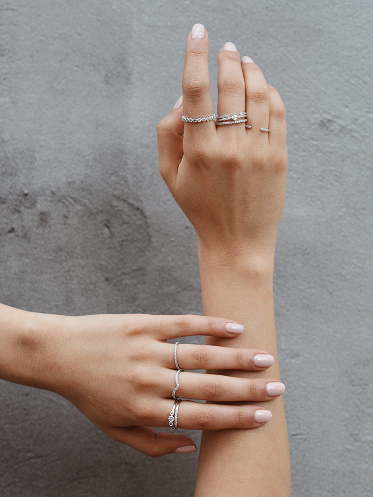 Silver V ring stacking ring by the faint hearted jewelry