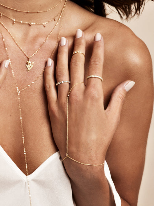 Gold Filled Essentials Handchain by The Faint Hearted Jewelry
