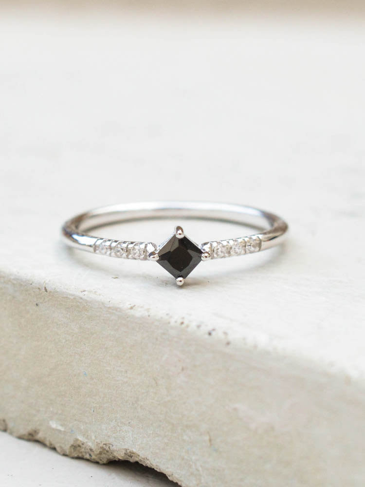 Silver Princess Cut Stacking Ring with Black stones by The Faint Hearted Jewelry