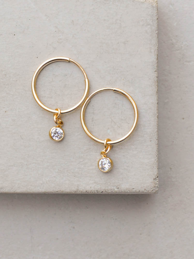 CZ Charm Hoops by The Faint Hearted Jewelry