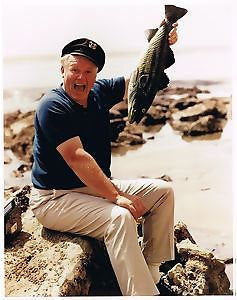 Alan Hale The Skipper With Fish Gilligan's Island Color   8x10 Photograph