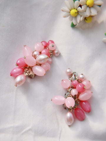 A string of pink candy (Vintage Clip-on Earrings)