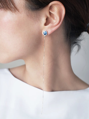 Yichuan Jewellery silver and antique blue and white porcelain moon earrings | On Slowness Fashion