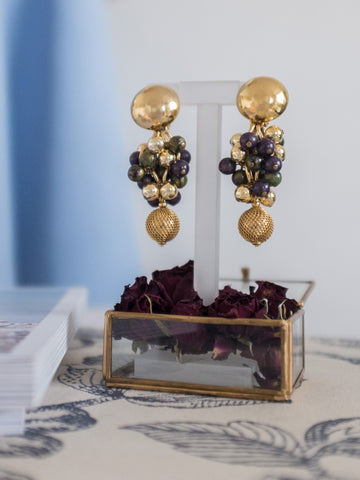 The harvest of grapes (Vintage Clip-on Earrings)