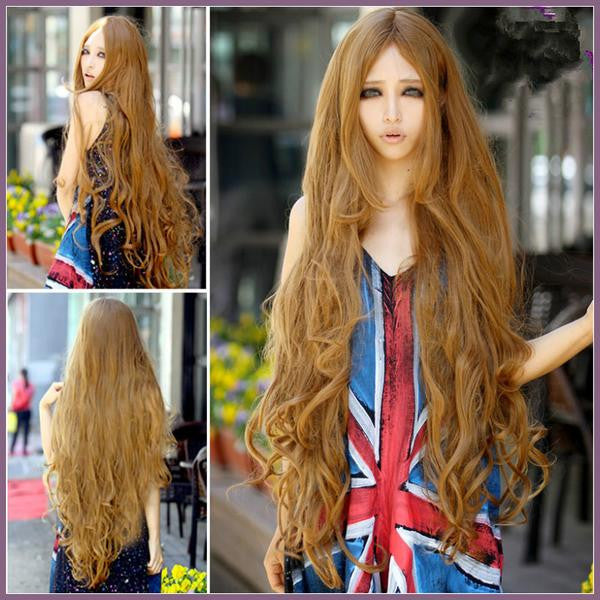 100 Cm Sexy Curly Wigs Long Bangs Blonde