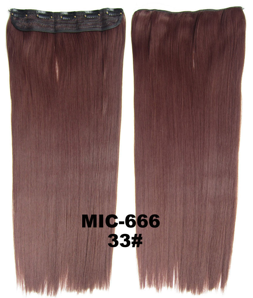 5 clips in on straight hairpieces,23*60cm 100g women Long straight synthetic clip in hair extensions hair pieces