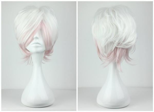32cm short Multi Color Pink Mix White Promotion Anime Diabolik Lovers Short cosplay wig,Colorful Candy Colored synthetic Hair Extension Hair piece 1pc WIG-199C