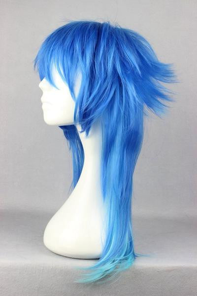 60CM Fashion Mens Hairstyle Blue Mixed Anime Cosplay DRAMAtical Murder DMMD Segaraki Aoba Wig,Colorful Candy Colored synthetic Hair Extension Hair piece 1pc WIG-271C