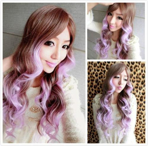 Women Wavy Hair Light Brown Wig