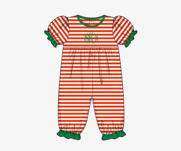 Girl's red thin striped knit short sleeve long pant bubble romper with green trim (NO MONOGRAM) (3m,6m,9m,12m,24m,2t)