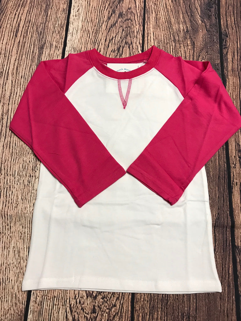 Girl's ST Baseball Tee with Hot Pink Sleeves (6t,7t,8t)