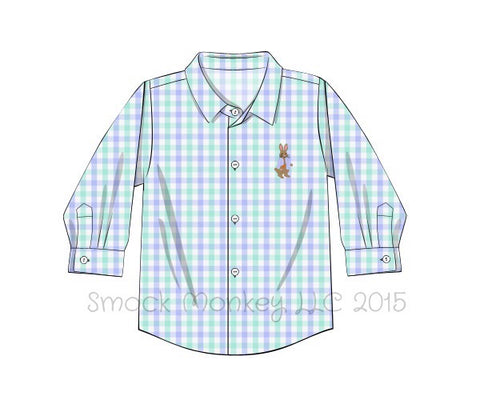 "Boy's embroidered ""PETER RABBIT"" mint and blue gingham button down shirt (6m,18m,24m)"