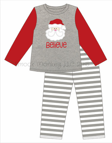 "Adult appliqué ""SANTA BELIEVE"" gray shirt with striped pajama bottoms set *(SM,MED,LG,XL)"