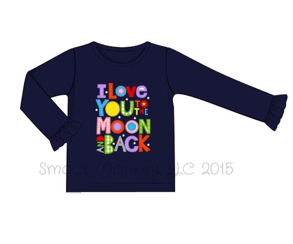 "Girl's applique ""I LOVE YOU TO THE MOON"" navy knit long sleeve ruffle shirt (12m,18m,2t,7t,8t)"