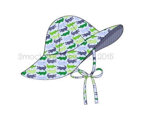 "Girl's ""ALLIGATOR"" print flappy hat with strap (XS,S,M,L,XL)"