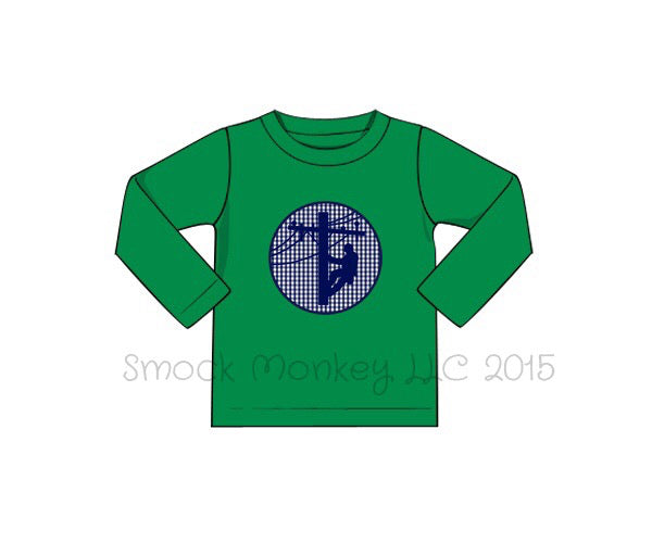 "Boy's applique ""LINEMAN"" green knit long sleeve shirt (3m,6m,12m,6t)"