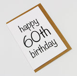 Happy 60th Birthday A6 Card-Gift Card-white linen-dear mabel