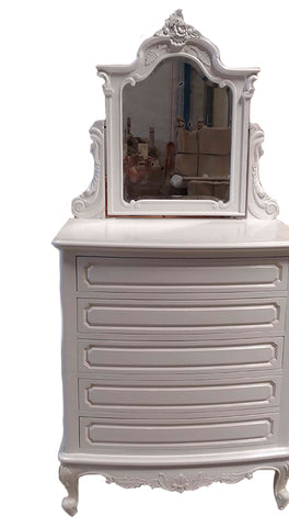 Unpainted French Chest of 5 Drawers with Ornate Mirror
