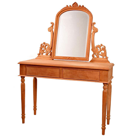 French Dressing Table with 2 drawers and ornate mirror