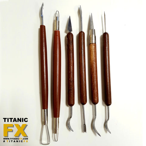 6 Piece - Double-ended Dark Wood Sculpting Tool Set, Tools, Titanic FX, Titanic FX Store, Titanic FX Store, Prosthetic, Makeup, MUA, SFX, FX Makeup, Belfast, UK, Europe, Northern Ireland, NI