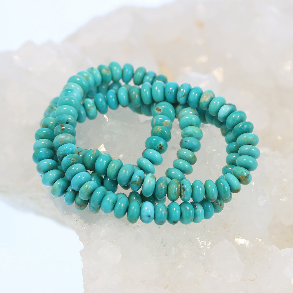 FOX MINE TURQUOISE Beads Rondelles Light Teal 5mm
