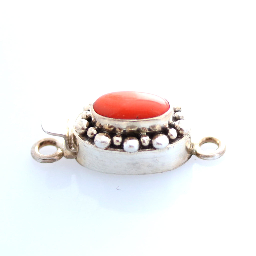 BEAUTIFUL CORAL CLASP 10x6mm DOT DESIGN  STERLING OVAL