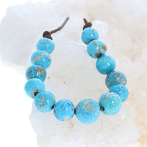 ARMENIAN TURQUOISE Beads 10-14mm with Pyrite 5""