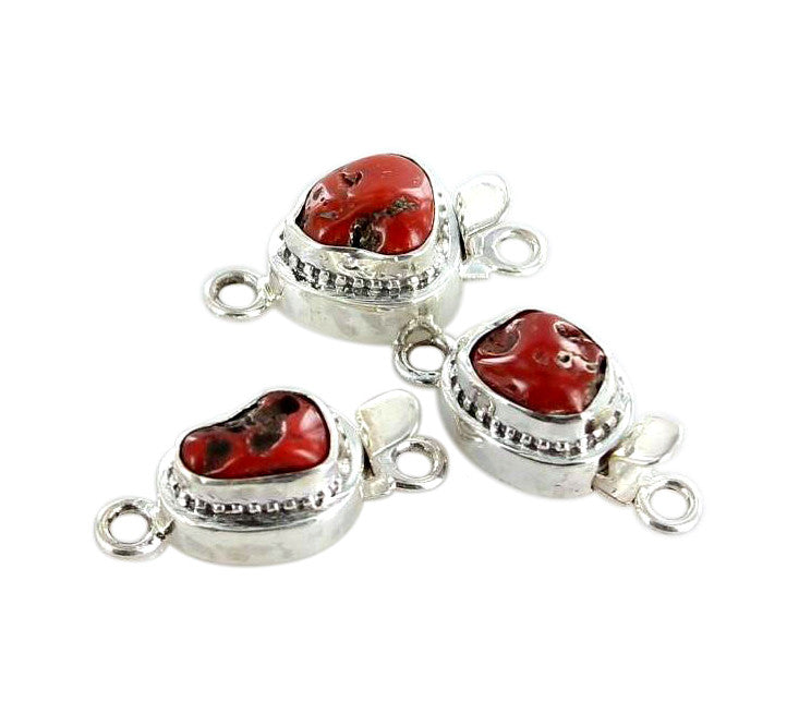 RED CORAL CLASP Free Form Sterling Rough - New World Gems