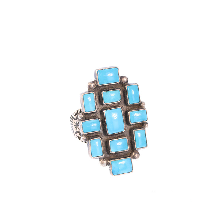 Sleeping Beauty Turquoise Ring Sterling Silver 11 STONES Size 9