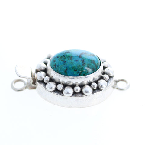 CHRYSOCOLLA CLASP Large 14x18mm Dot Design Sterling