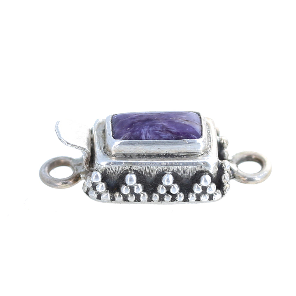 CHAROITE CLASP STERLING SILVER GRANULATED RECTANGLE