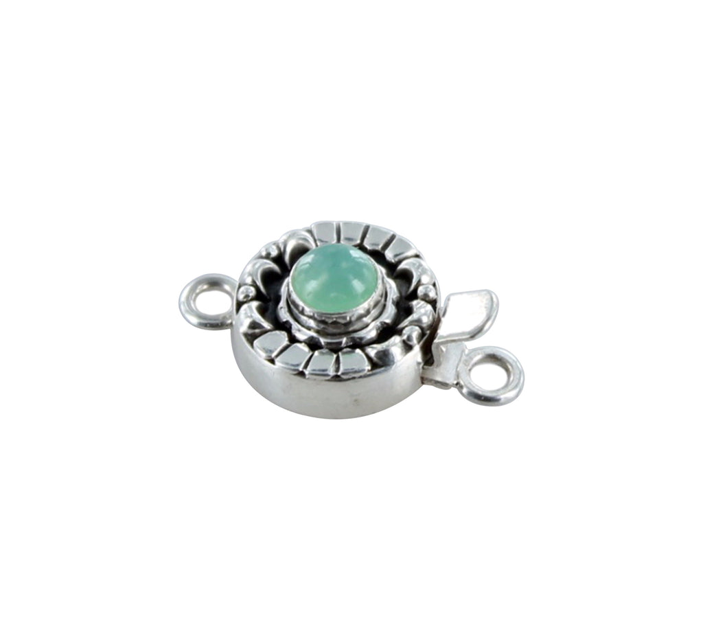 CHRYSOPRASE CLASP Sterling Moon Petal Design 6mm - New World Gems