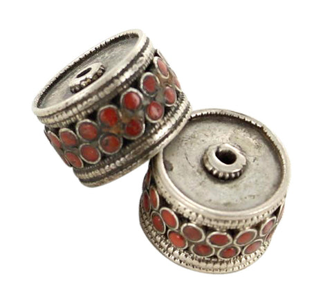 Antique Tibetan Coral Beads Sterling Centerpiece Bead Pair - New World Gems