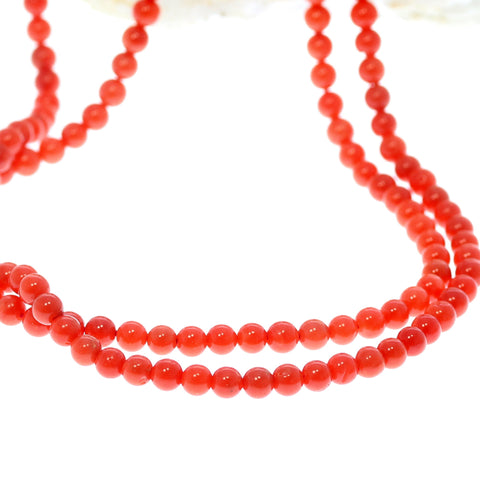 AAA Bright Red ITALIAN CORAL Beads Round 4.2mm 18""