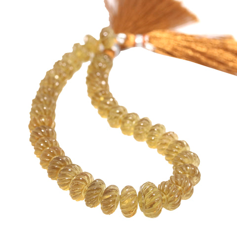 AAA CITRINE BEADS Carved Spiral Rondelles 10-13mm