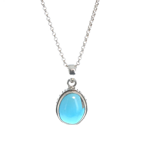 SLEEPING BEAUTY TURQUOISE Pendant Sterling Oval