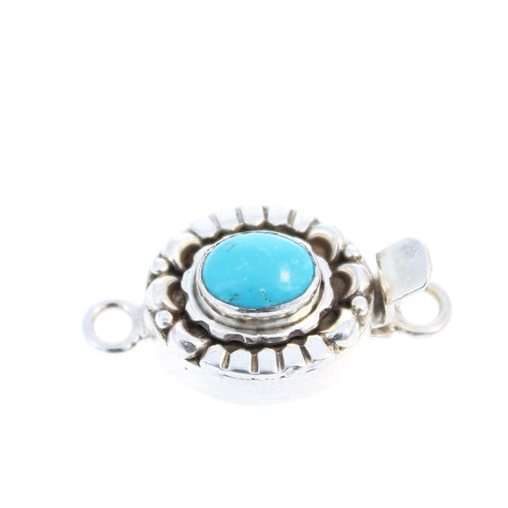 TURQUOISE CLASP Lone Mountain Sterling Moon Petal Design 6x8mm