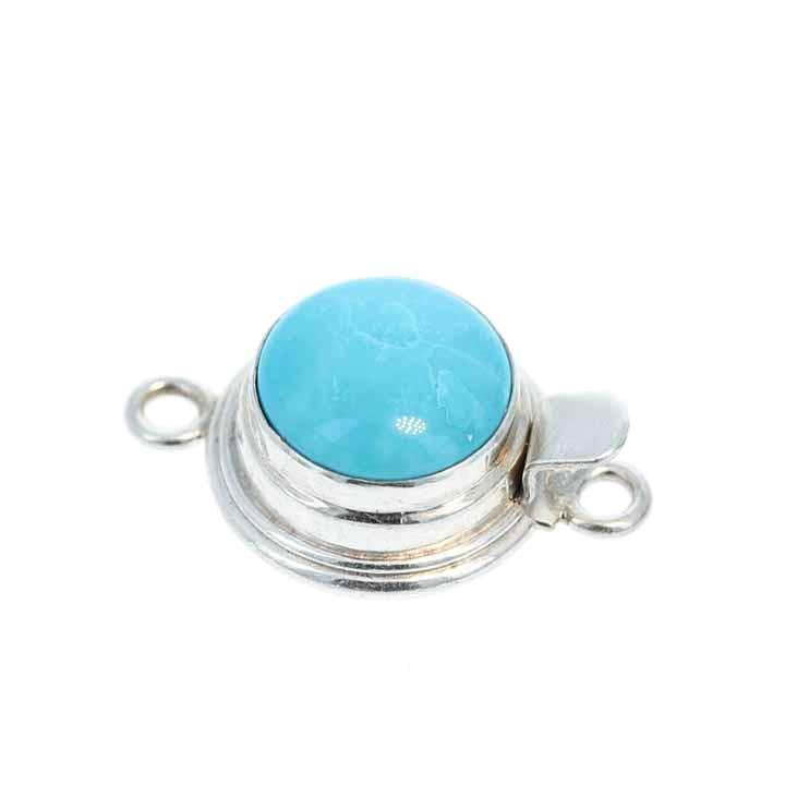 KINGMAN TURQUOISE CLASP Round 12mm Sterling