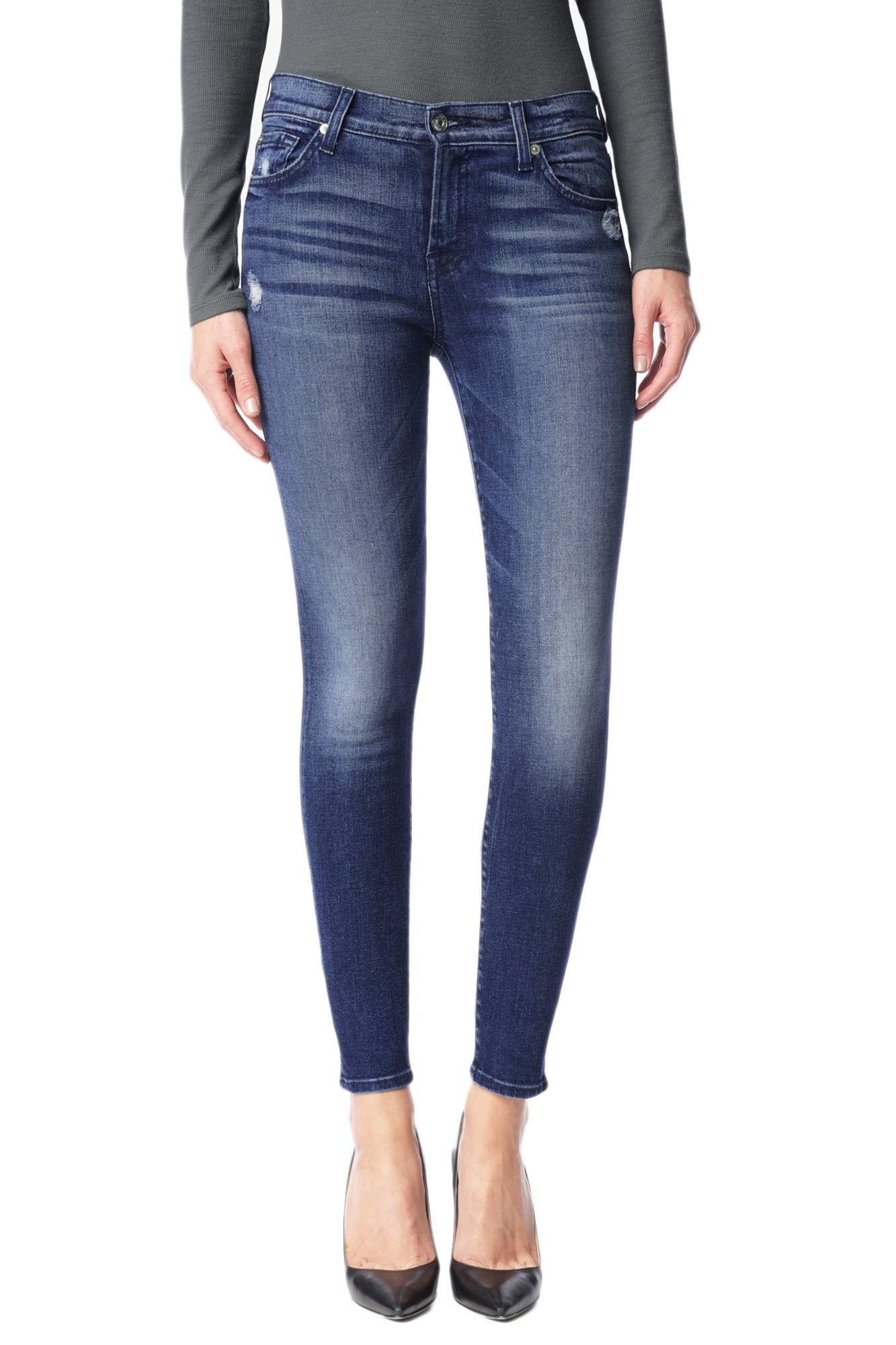 7 For All Mankind Ankle Skinny Jean with Squiggle in Lake Blue AU809744A