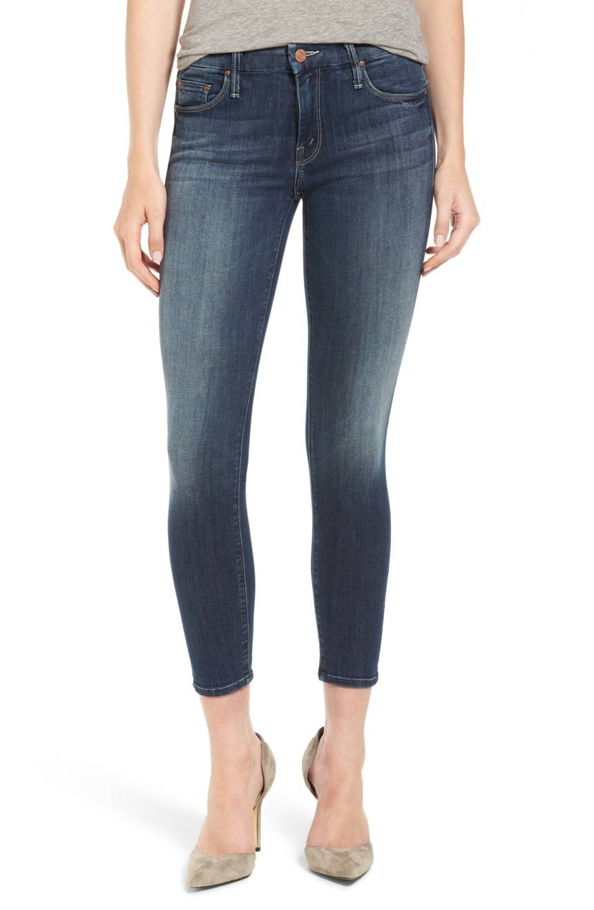 Mother Denim The Looker Crop Classic Mid-Rise Skinny Jean in Here Kitty, Kitty 1121H-104