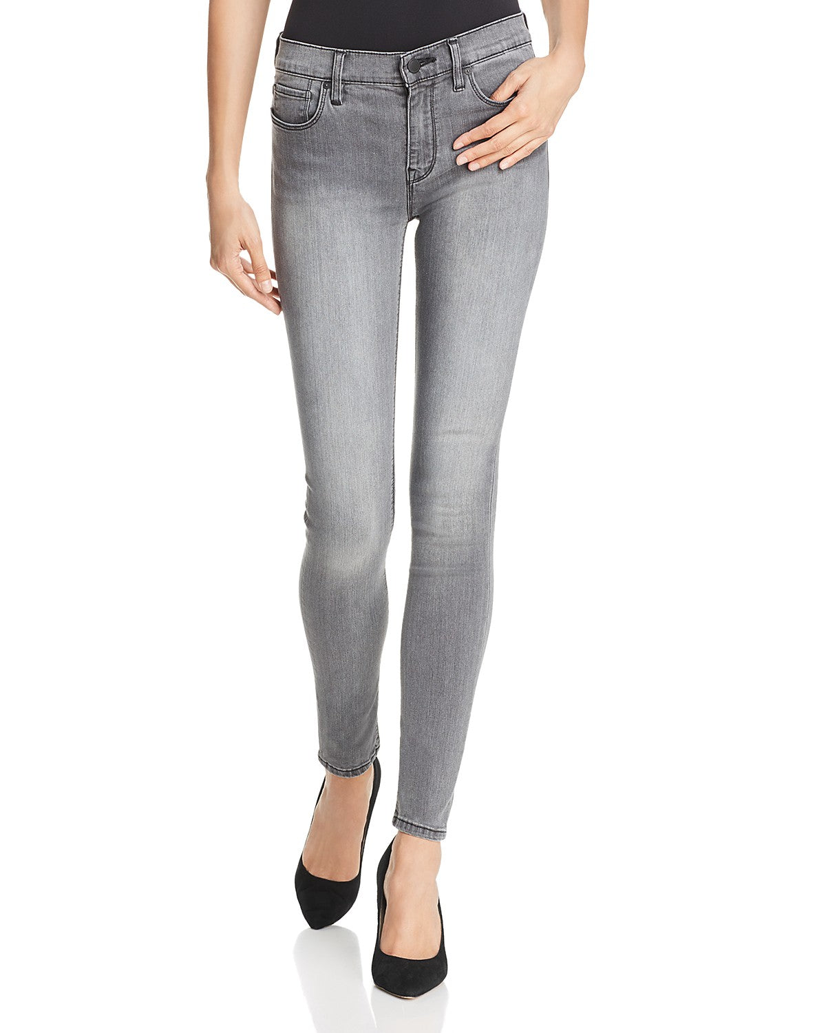 Hudson Nico Midrise Super Skinny Jeans in Trooper Grey WM407DEZ