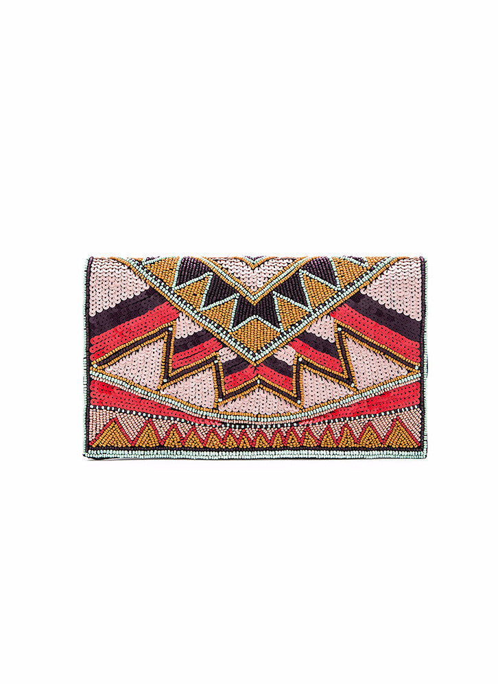 BCBGeneration Tribal Beaded Clutch in Multi KMG589GN