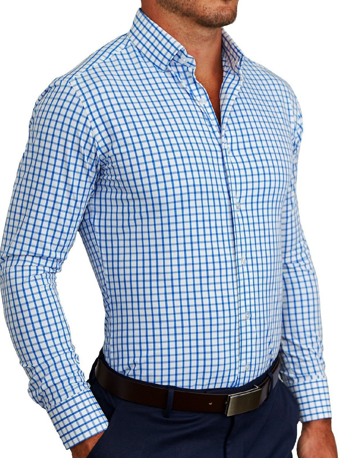 "State of Liberty ""The Burke"" Big Blue Windowpane Button Down"