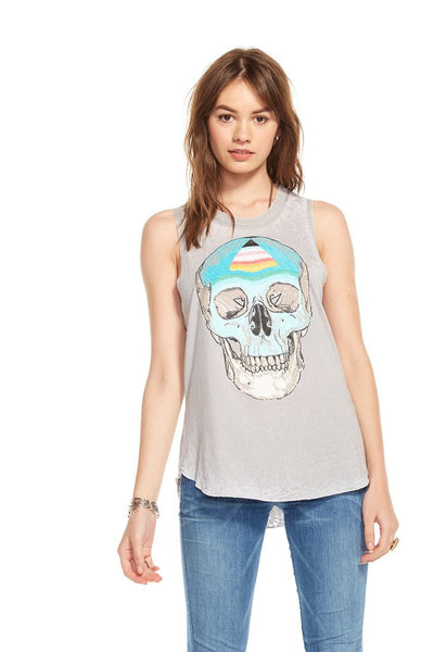 Chaser Brand Painted Skull Drape Back Crew Tank in Platinum CW6113-CHA1698