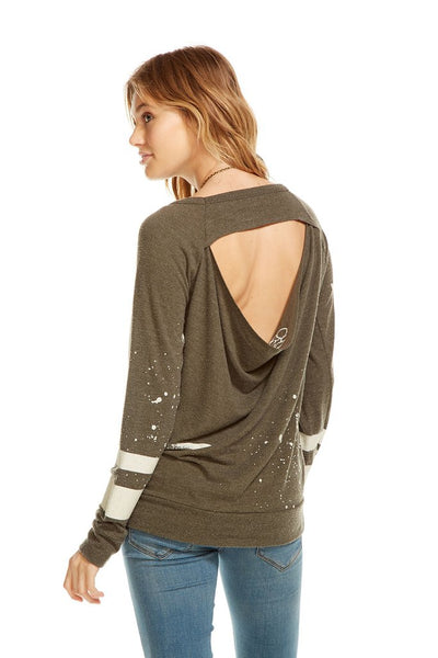 Chaser Brand Love Recruit Drape Back Raglan in Canteen CW6552CP-CHA2342
