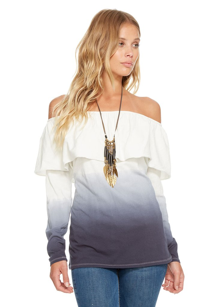 Chaser Brand Gauzy Cotton Jersey L/S Ruffle Off Shoulder Tee CW7007